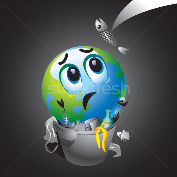 Smileys glimlachend bal aarde prullenbak wereldbol Stockfoto © dejanj01
