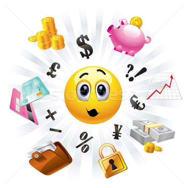 Smileys naar geld gezicht Stockfoto © dejanj01