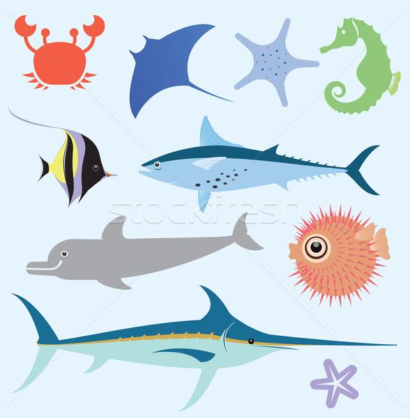 Zee vector ingesteld zeedieren abstract Stockfoto © dejanj01