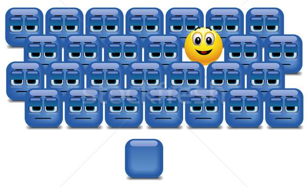 Bal uit menigte gezicht cartoon Stockfoto © dejanj01