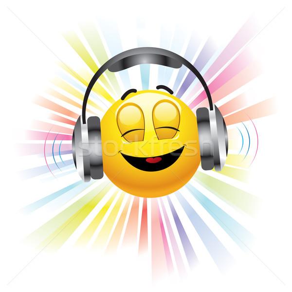 Muziek glimlachend bal luisteren naar muziek glimlach Stockfoto © dejanj01