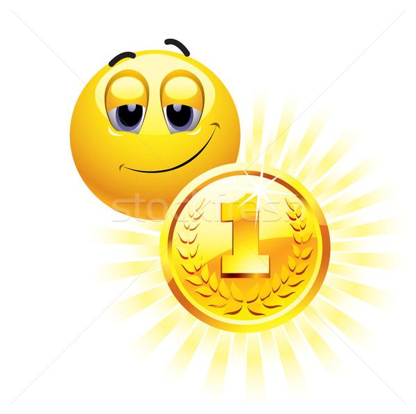 Stockfoto: Smileys · bal · gouden · medaille · goud · succes · beker