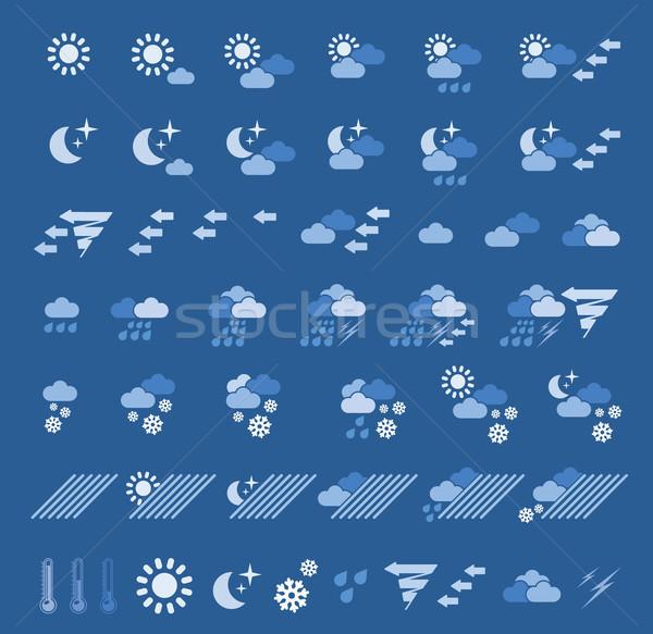 Stockfoto: Weer · iconen · computer · zon · sneeuw · achtergrond