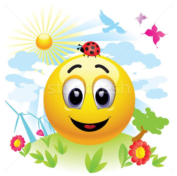 Smileys bal bericht gelukkig Stockfoto © dejanj01