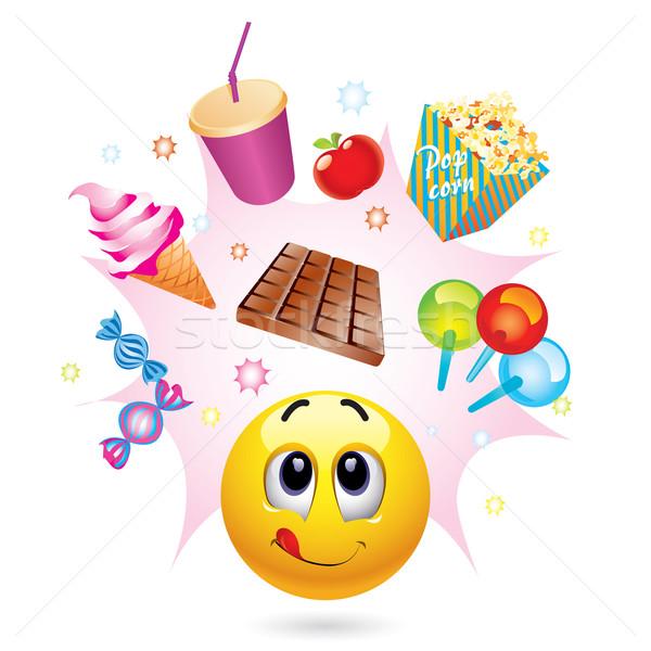 Smileys bal verschillend symbolen snoep Stockfoto © dejanj01