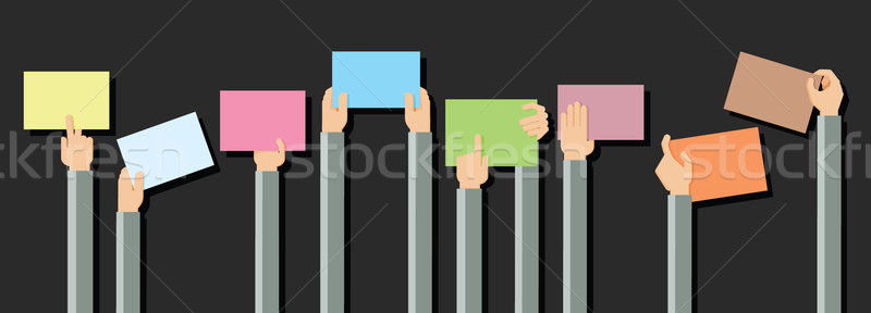 Vector illustration of hands holding blank piece of paper for me Stock photo © dejanj01