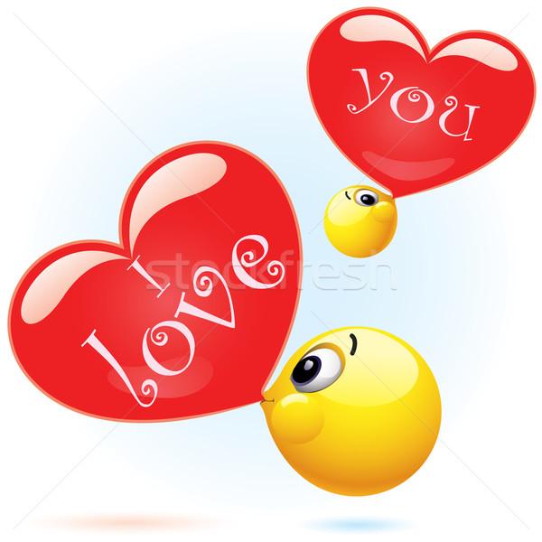 Glimlachend bal liefde gezicht Stockfoto © dejanj01