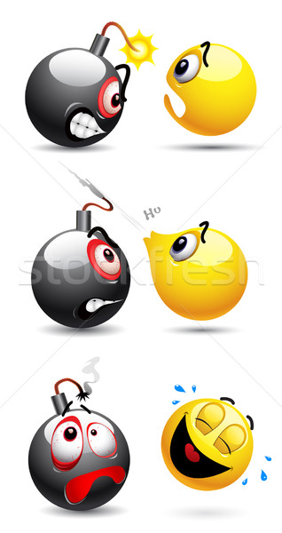 Smileys emoticon bola bomba projeto medo Foto stock © dejanj01