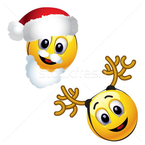 Glimlachend kerstman rendier glimlach Stockfoto © dejanj01