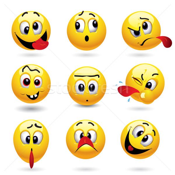 Emotikonok emotikon golyók mutat vicces arc gyerekek Stock fotó © dejanj01