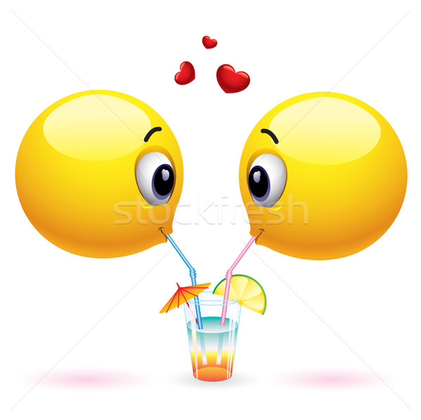 Paar glimlachend drinken Stockfoto © dejanj01