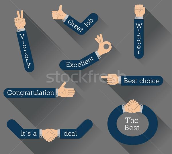 Ontwerp ingesteld handen geïsoleerd vergadering abstract Stockfoto © dejanj01
