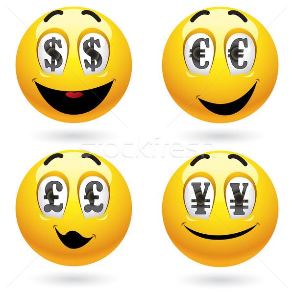 Smileys emoticon olhando dinheiro cara Foto stock © dejanj01