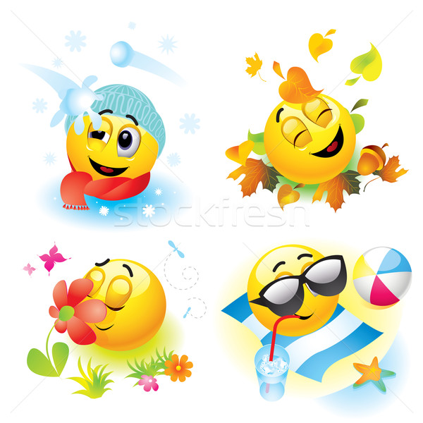 Smileys emoticon diferente temporada flor Foto stock © dejanj01