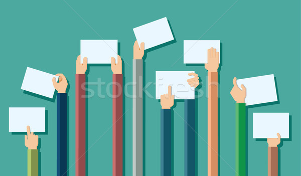 Flat design illustration of hands holding paper with copy space  Stock photo © dejanj01