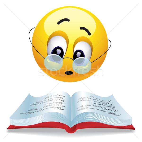 Glimlachend bal lezing boek bril Stockfoto © dejanj01