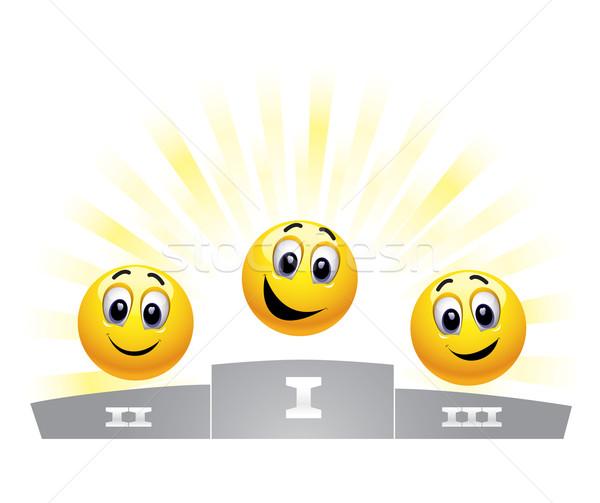 Smileys drie winnaars podium Stockfoto © dejanj01