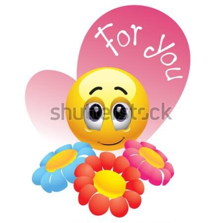 Bal bloemen gelukkig teken web Stockfoto © dejanj01