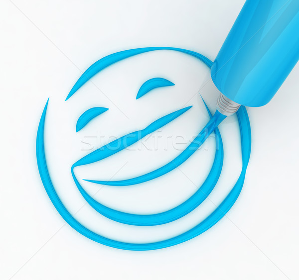 Tandenborstel tekening tandpasta gezondheid Stockfoto © dejanj01