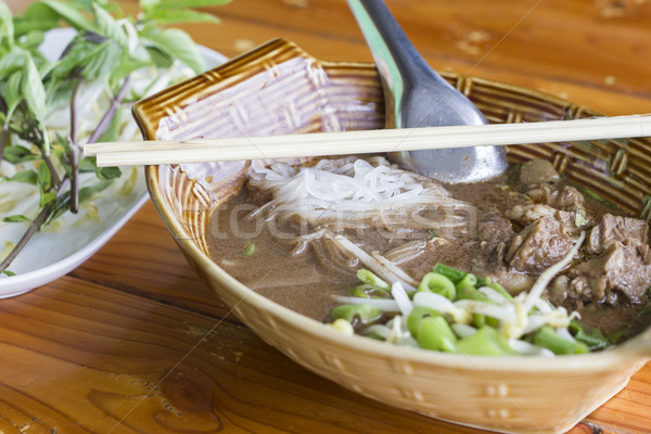 Macarrão thai comida vermelho carne chinês Foto stock © dekzer007