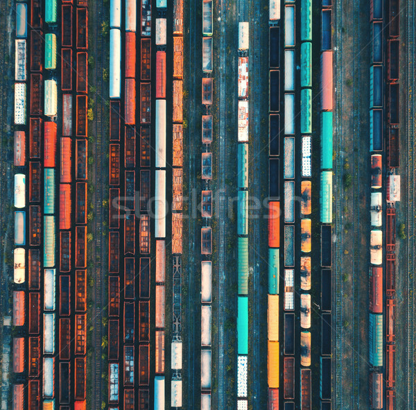 Top view of colorful cargo trains. Aerial view Stock photo © denbelitsky