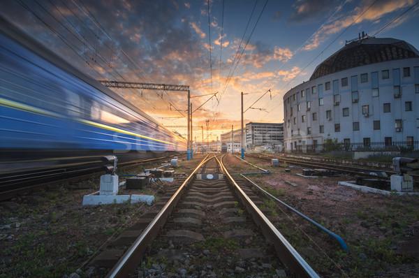 Nagysebességű vonat mozgás vasút útvonal naplemente Stock fotó © denbelitsky