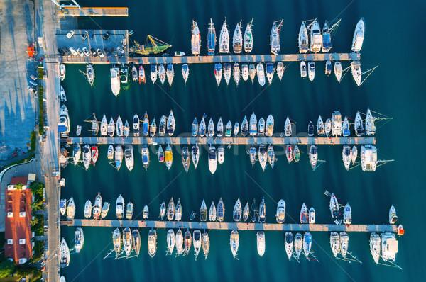 Luchtfoto verbazingwekkend boten zonsondergang Turkije Stockfoto © denbelitsky