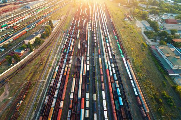 Top kleurrijk vracht treinen luchtfoto Stockfoto © denbelitsky