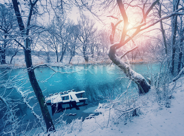 Photo stock: Hiver · forêt · rivière · coucher · du · soleil · coloré · paysage