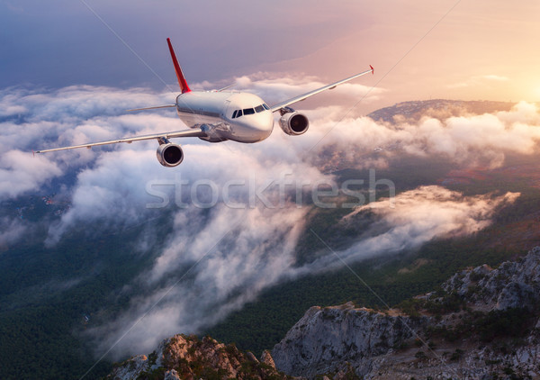 Stock photo: Beautiful airplane is flying over low clouds at sunset