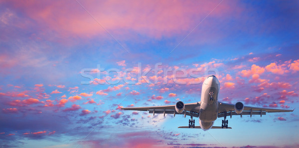 Passenger airplane is flying in the blue sky with pink clouds Stock photo © denbelitsky