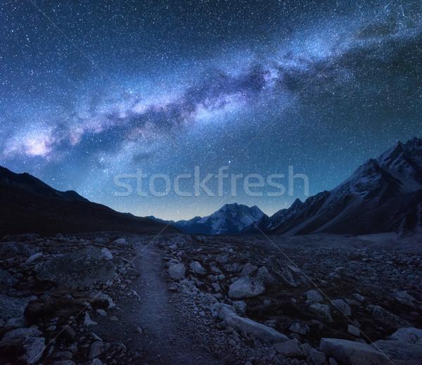 Mleczny sposób góry noc krajobraz fantastyczny Zdjęcia stock © denbelitsky
