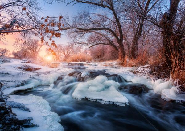 Winter landschap bomen ijs mooie bevroren Stockfoto © denbelitsky