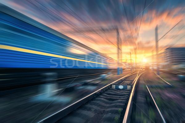 Stazione ferroviaria effetto offuscata ferrovia paesaggio industriale Foto d'archivio © denbelitsky