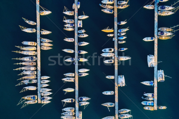 Aerial view of amazing boats at sunset in Marmaris, Turkey Stock photo © denbelitsky