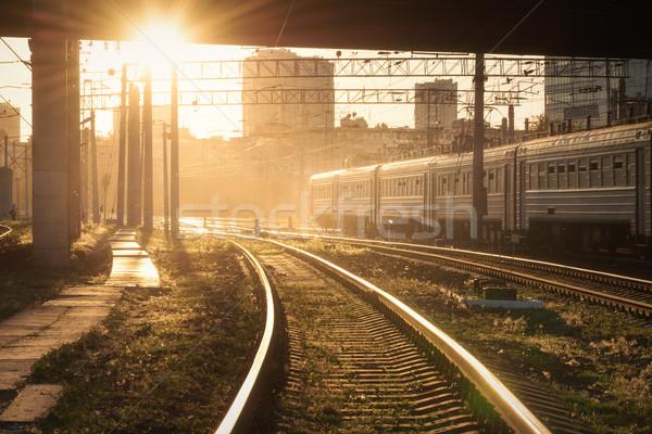 Colorful industrial landscape with railway platform, semaphore Stock photo © denbelitsky