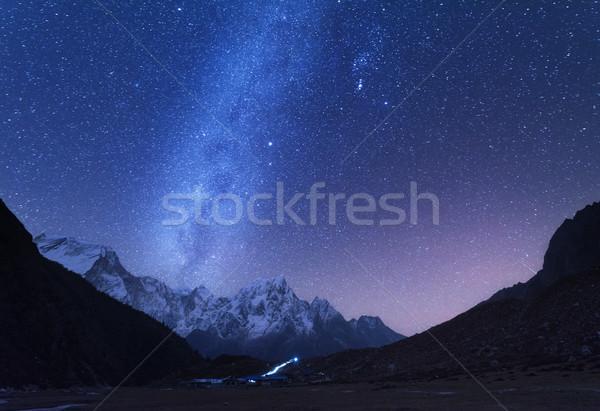 Melkachtig manier bergen nacht landschap fantastisch Stockfoto © denbelitsky