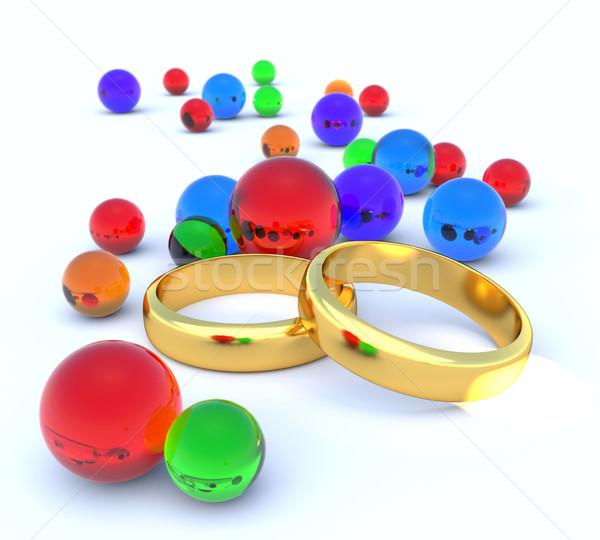 Dos anillos boda amor diseno Foto stock © dengess