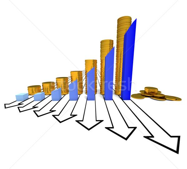 Grafiek munten Blauw geïsoleerd witte kleur Stockfoto © dengess