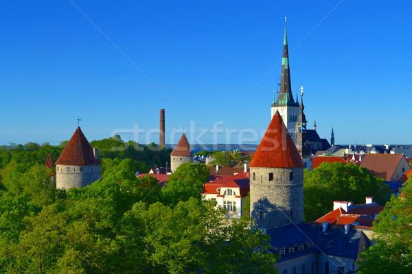 Kilátás óváros városkép égbolt épület utca Stock fotó © dengess
