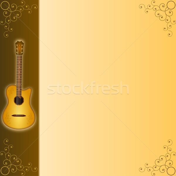 Muziek akoestische gitaar abstract rock schilderij zwarte Stockfoto © dengess