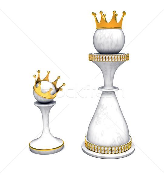 Schaken koningin pion goud kroon Blauw Stockfoto © dengess