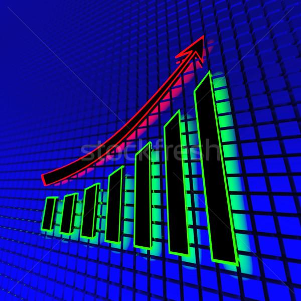 Neon business grafiek licht abstract 3d illustration Stockfoto © dengess