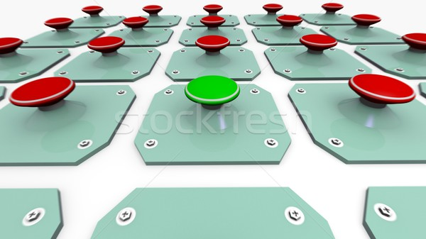 Stock photo: Green start button and Red alert buttons