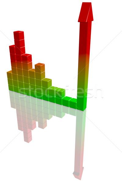 Stockfoto: Business · staafdiagram · hoog · kwaliteit · 3d · render · bouw