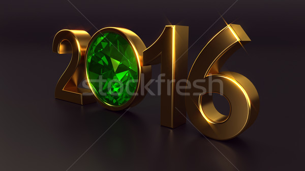 New year 2016 with emerald gemstone Stock photo © dengess
