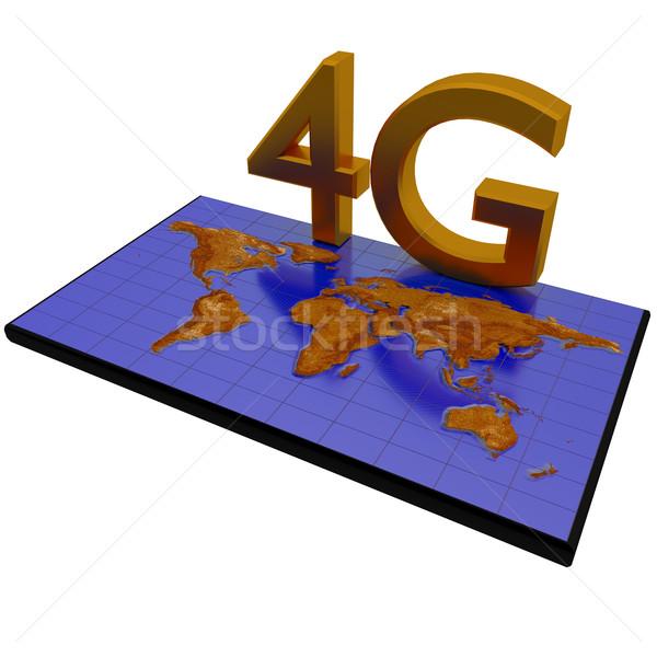 4g rede mapa do mundo cartaz projeto tecnologia Foto stock © dengess