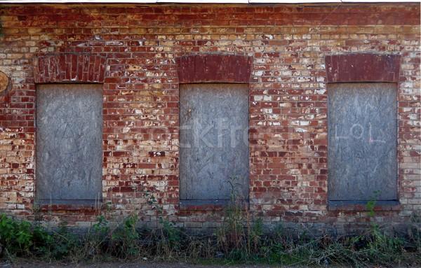 Foto stock: Vermelho · parede · de · tijolos · textura · velho · grunge · edifício