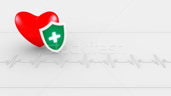 Batimento cardíaco escudo computador saúde medicina vermelho Foto stock © dengess