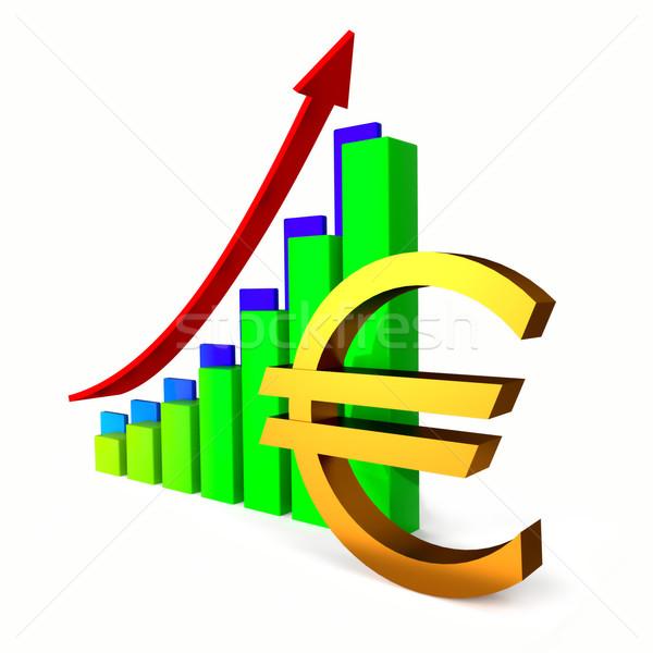 Euro business grafiek bar pijl teken Stockfoto © dengess
